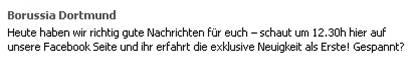 BVB Facebook-Nachricht