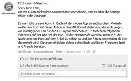 FC Bayern München Facebook-Nachricht